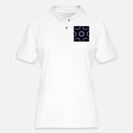 Black Polo Shirts - Purple Jewel - Women's Pique Polo Shirt white