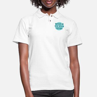 Instrument World techno tribe music gift raving concert - Women's Pique Polo Shirt