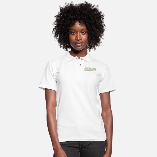 Goddess Polo Shirts - Put the Mess in Domestic - Women's Pique Polo Shirt white
