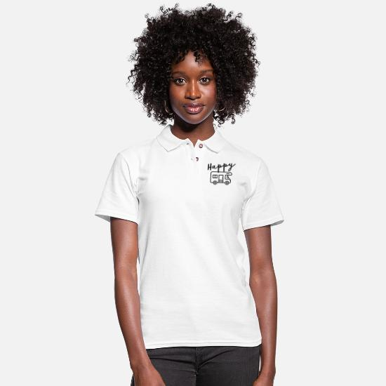 Happy Polo Shirts - Happy Camper - Women's Pique Polo Shirt white