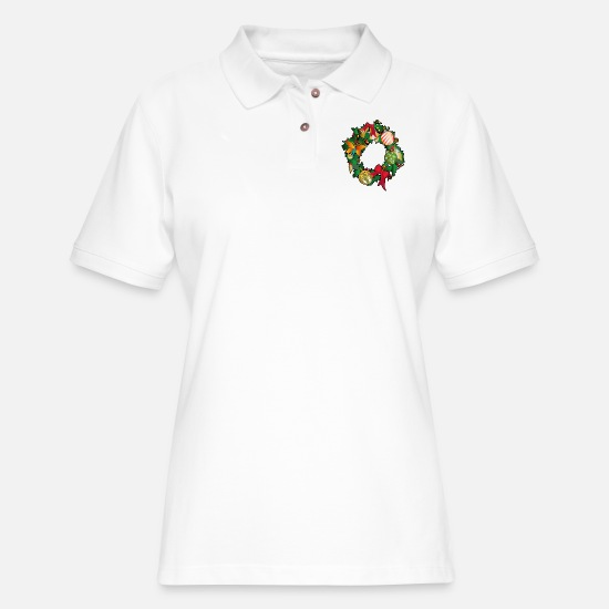 Christmas Polo Shirts - Merry Christmas - Women's Pique Polo Shirt white