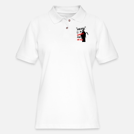 Ripper Polo Shirts - DEATH - Women's Pique Polo Shirt white
