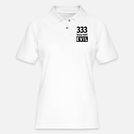 Half Polo Shirts - 333 Only Half Evil - Women's Pique Polo Shirt white