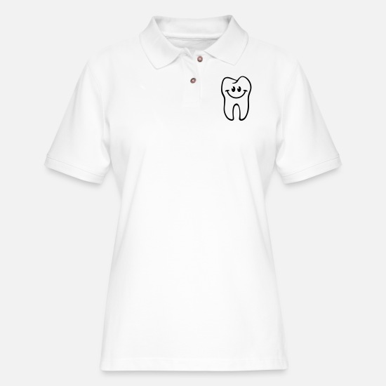 Dental Polo Shirts - Tooth- / Dent- / Diente- / Dente- / Zahn-Smiley - Women's Pique Polo Shirt white