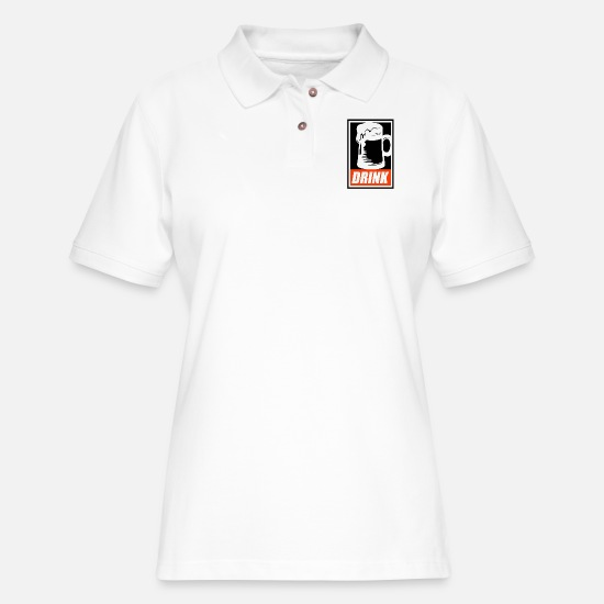Craft Beer Polo Shirts - Obey Your Thirst: Drink - Women's Pique Polo Shirt white