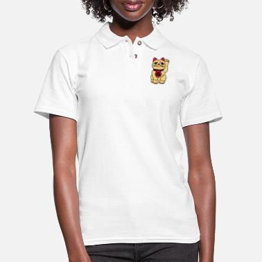 Comedy good fortune cat - Women's Pique Polo Shirt