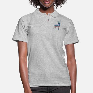 Blurry Blurry Stripes Deer - Women's Pique Polo Shirt
