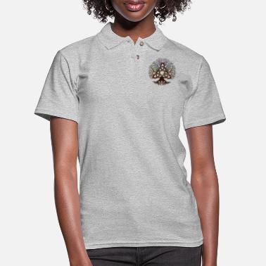 Celtic Colorful Tree of life with Triquetra - Women's Pique Polo Shirt