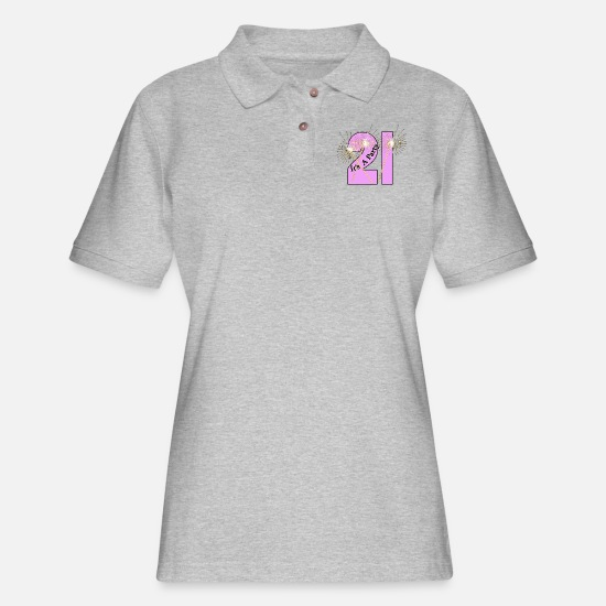 Birthday Polo Shirts - Celebrating 21 - Women's Pique Polo Shirt heather gray
