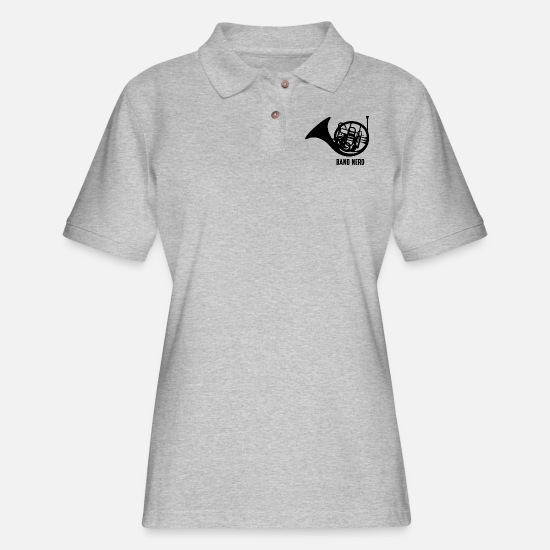 Horn Polo Shirts - Band Nerd French Horn - Women's Pique Polo Shirt heather gray