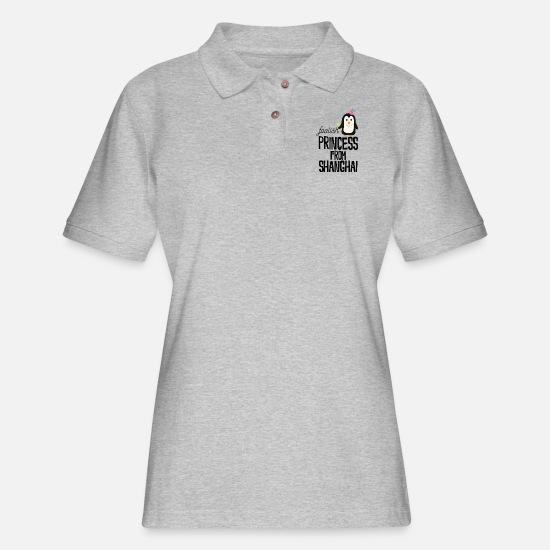 Princess Polo Shirts - foolish Princess from Shanghai - Women's Pique Polo Shirt heather gray