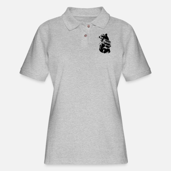 Urban Polo Shirts - Bear Protester - Women's Pique Polo Shirt heather gray