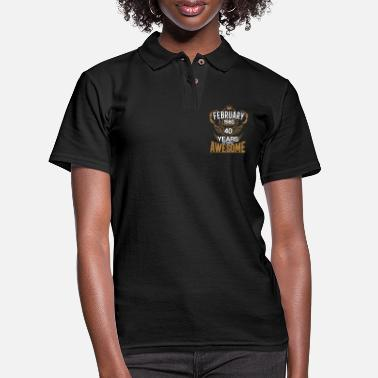 Born in February 1980 40th Years of Being Awesome - Women's Pique Polo Shirt