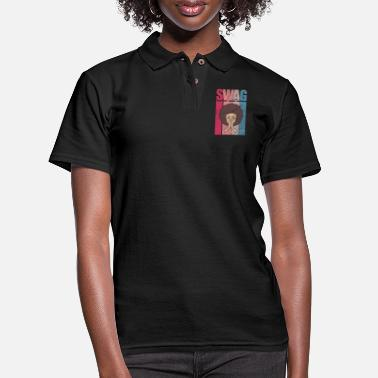 Black Woman Swag Afro African American Black Pride - Women's Pique Polo Shirt