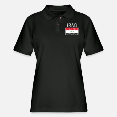 Irak Iraq flag vintage - Women's Pique Polo Shirt