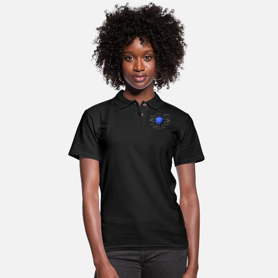 Funny Polo Shirts - Funny Neptune Diagram Blue Planet Solar System - Women's Pique Polo Shirt black