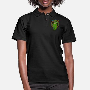 Weed Shaman Medicine Man Old Man Smoking - Women's Pique Polo Shirt