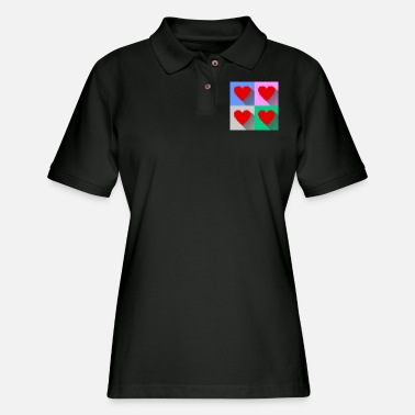 Pixel Heart Pixel Hearts - Women's Pique Polo Shirt
