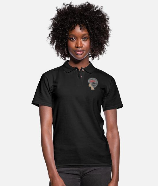 Hair Polo Shirts - Libra Afro Hair Art - Women's Pique Polo Shirt black