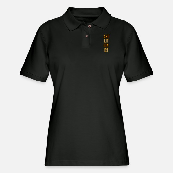Slavery Polo Shirts - Abolitionist Gold - Women's Pique Polo Shirt black