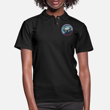 Sloth Sloth With Headphones - Women's Pique Polo Shirt