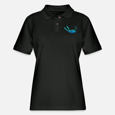 Scuba Scuba Diver Maori Style Tribal Tattoo Gift Idea - Women's Pique Polo Shirt