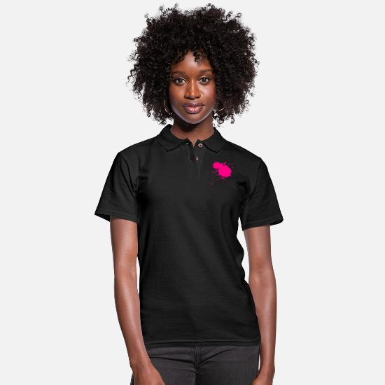 Splatter Polo Shirts - splash of color - Women's Pique Polo Shirt black