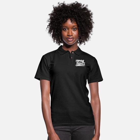 Man Polo Shirts - Cool Text Human Rights - Women's Pique Polo Shirt black