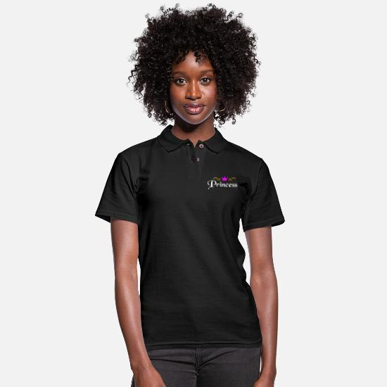 Daughter Polo Shirts - Princess with crown - Women's Pique Polo Shirt black