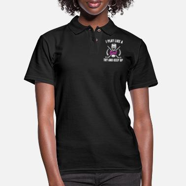 Pretty I play like a Ice Hockey Girl - Try and Keep Up - Women's Pique Polo Shirt