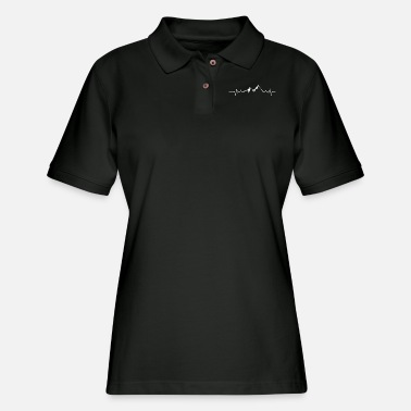 Wanderlust Hiking Mountain Heartbeat Camping - Women's Pique Polo Shirt