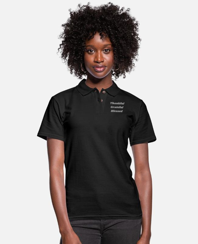 Design Polo Shirts - Thankful Grateful Blessed - Women's Pique Polo Shirt black