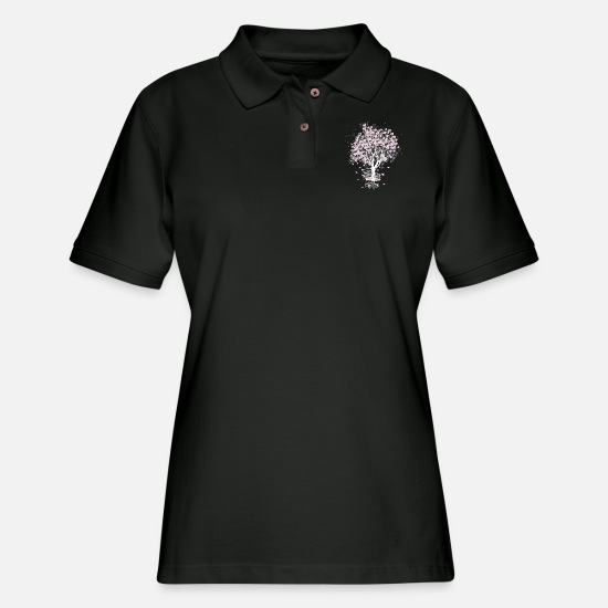 Great Polo Shirts - blooming tree in shopping cart - Women's Pique Polo Shirt black