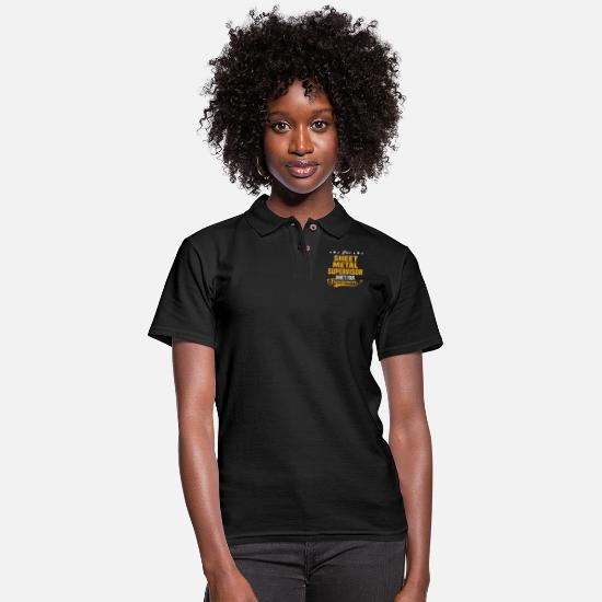 Superpower Polo Shirts - Sheet Metal Supervisor - Women's Pique Polo Shirt black