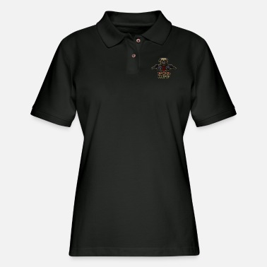 Pug Off - Angry Pug with Gun - Women's Pique Polo Shirt