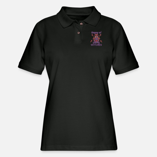Mummie Polo Shirts - Hanging out with my witches - Women's Pique Polo Shirt black