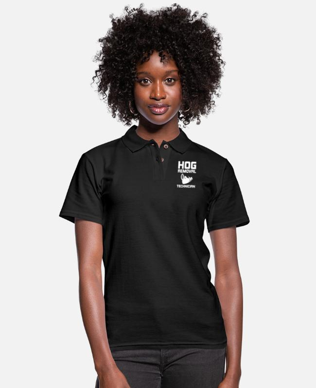 Stag Polo Shirts - Hog Removal Technician Hunting Boar Pig - Women's Pique Polo Shirt black