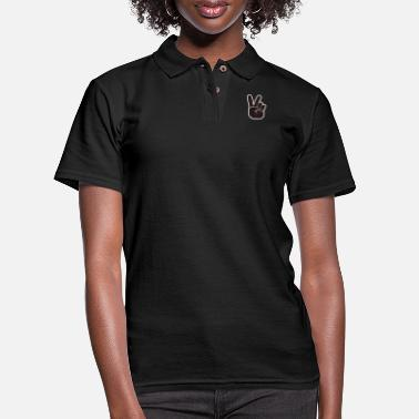 Pattern Hand Peace Sign Cool Fashionable Stylish Rose - Women's Pique Polo Shirt
