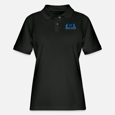 Heart I Wear Blue For My Dad Colon Cancer Awareness - Women's Pique Polo Shirt