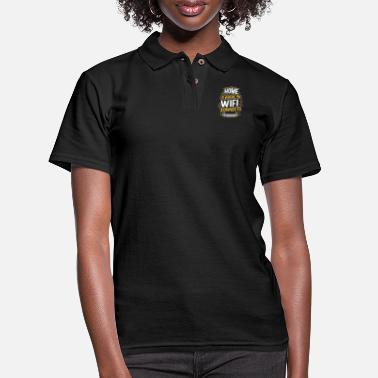 top hand drawn lettering home is where wifi - Women's Pique Polo Shirt