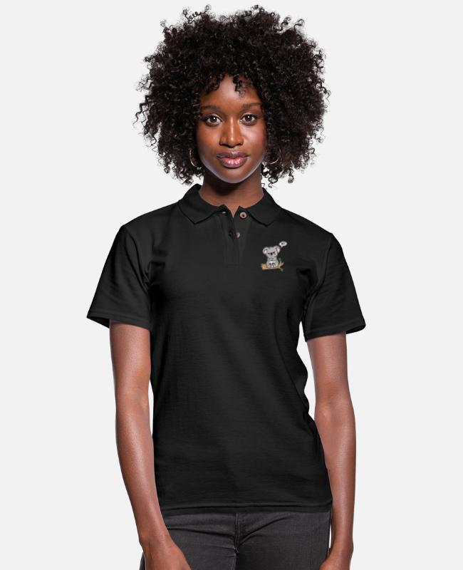 Eucalyptus Polo Shirts - No! Koala Cute Gift Idea - Women's Pique Polo Shirt black