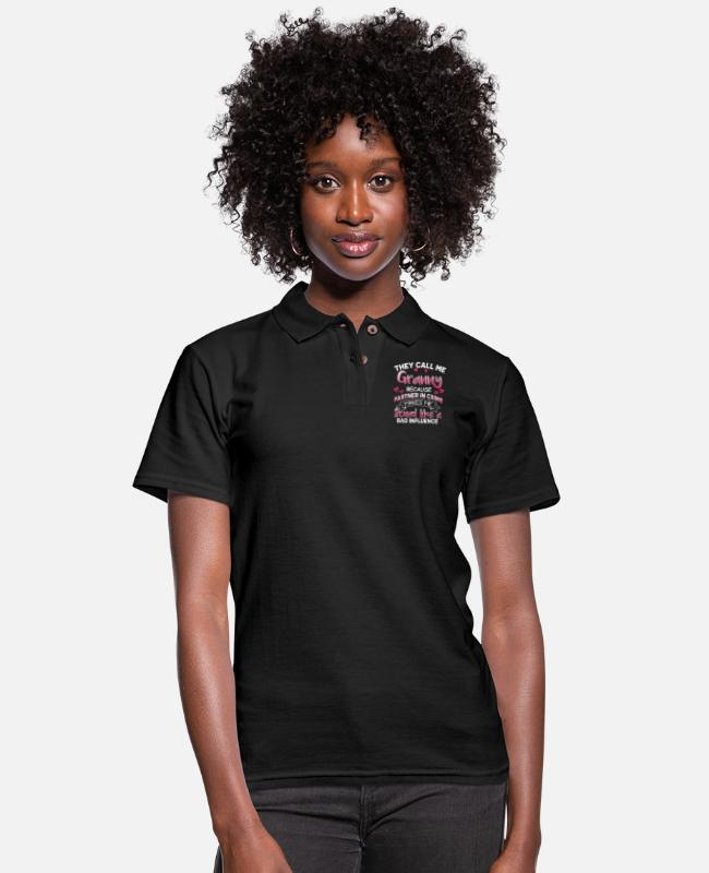 Call Polo Shirts - They Call Me Granny Best Mom Grandma Aunt Nana Eve - Women's Pique Polo Shirt black