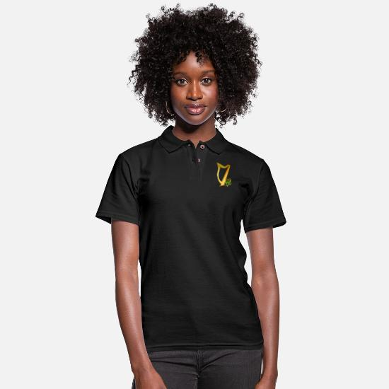 Irish Polo Shirts - Celtic Irish gold Harp - Women's Pique Polo Shirt black