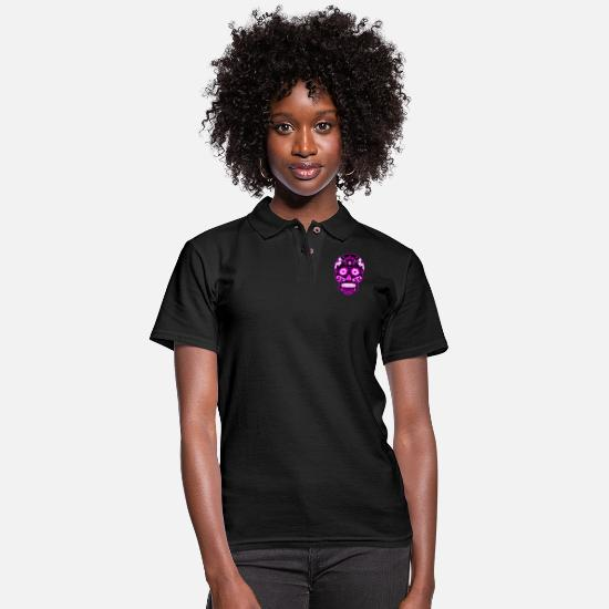Black Polo Shirts - Decorative black skull, light purple - Women's Pique Polo Shirt black