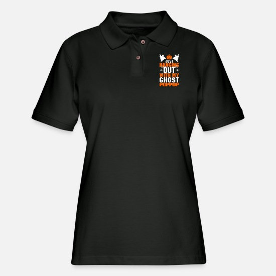 Festival Polo Shirts - Just Hanging Out With My Ghost Poppop - Women's Pique Polo Shirt black