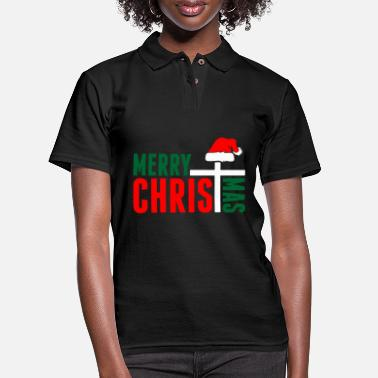 Merry Merry Christmas Ugly Sweater Tshirt - Women's Pique Polo Shirt