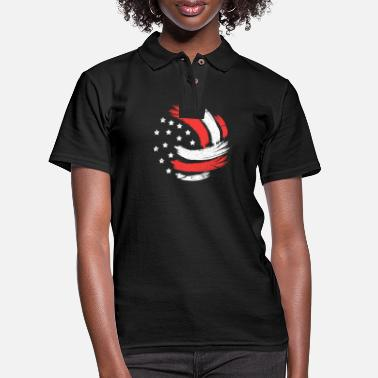 Volley Volleyball USA Flag - Women's Pique Polo Shirt