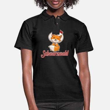 Clock Black Forest fox fox Bollenhut red fox Reineke - Women's Pique Polo Shirt