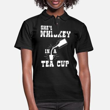 Whiskey Whiskey Bourbon Scotch - Whiskey in a Tea Cup - Women's Pique Polo Shirt