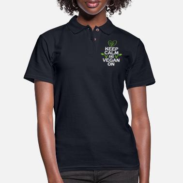Vegan Keep Calm And Vegan On - Women's Pique Polo Shirt